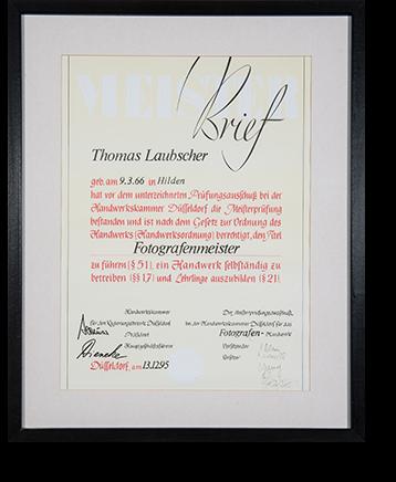 Meisterbrief Thomas Laubscher
